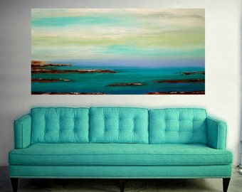 Art, Large Painting, Original Abstract, Acrylic Paintings on Canvas by Ora Birenbaum Titled: Low Tide 9 30x60x1.5""