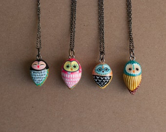 Choose Your Owl Necklace / Barn Owl / Hand Painted