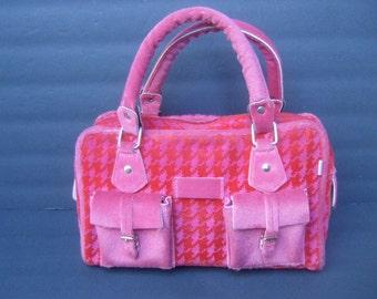 Stylish Italian Fucshia & Red Plaid Handbag