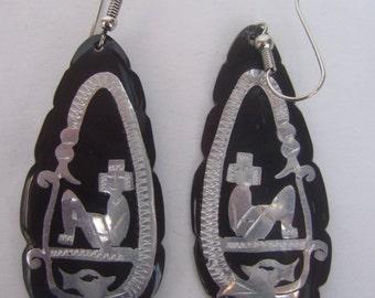 Exotic Sterling Black Lucite Dangle Hoop Earrings
