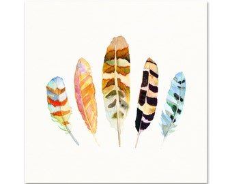 Orange / Blue Watercolor Feather Art Print. Eclectic Living Room Gallery Wall Art Print. Colorful Nature Decor. Unique Feather Painting.
