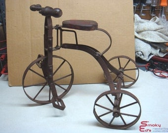 Vintage Miniature Tricycle Metal and Wood with Moving Parts Primative Decor