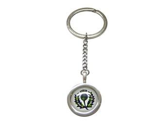 Circular Green Scottish Thistle Pendant Keychain
