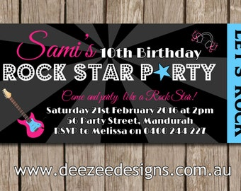 Rockstar Personalised Ticket Style Birthday Invitations - YOU PRINT