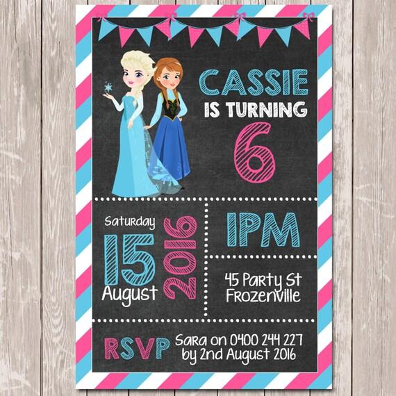 Frozen themed personalised chalkboard birthday invitation you il570xn filmwisefo