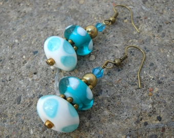 FREE US SHIPPING-Dotty saucers: Lampwork glass earrings,white,blue and brass dangle earrings