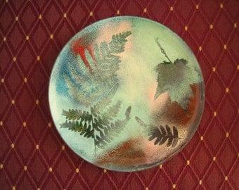 "SALE 6"" Signed Enamel on Copper Vintage Plate.  Studio Piece c. 1970's. Fern & Leaf Designs. Many Green Shades Plus Blue, Red, Pink, Rust."