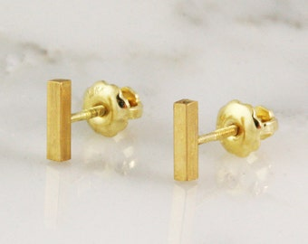 Solid Gold 1.5mm x 6.25mm Rectangle Bar Earrings - Solid Gold Bar Studs - 22k 18k 14k Threaded Screw Back Staple Studs