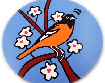 """Oriole 16"""" Wooden Lazy Susan. Hand-painted on white birch."""
