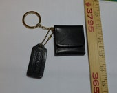 Vintage Coach Keychain Fob Leather Photo sleeve