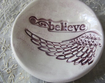 Believe Purple and White Angel Wing Bowl