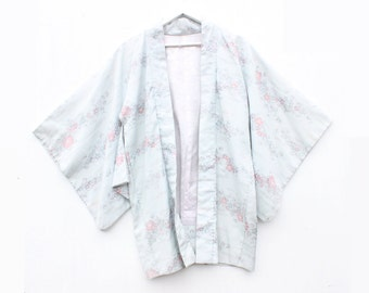 Traditional Japanese Heavy Silk Pastel Silver Blue Embroidered Huge Sleeve Kimono Jacket / Robe / Duster