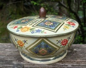 Vintage Pedestal Tin with Domed Finial Lid - Made in Belgium Boho Floral Container - Fancy Blue and White Footed Metal Box with Flowers