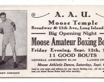AAU Moose Temple Amateur Boxing Long Island City 1930 Jimmy Johnson Trade Card