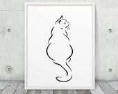 Minimalist Cat Printable. Black & White Abstract Lines Sitting Cat Animal Print. Minimalist Modern Art Nursery Home Office Decor. DIY Print