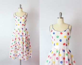 vintage 70s sundress / 1970s polka dot summer dress / tiered skirt dress / white dotted dress / Paint By Numbers dress