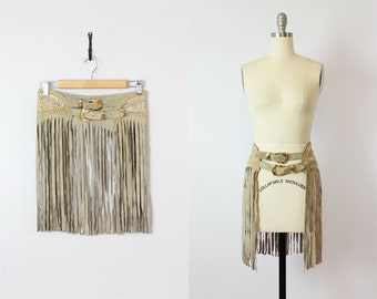 vintage 70s fringed suede belt / 1970s rare KIPPYS rhinestone studded belt / wide belt / long tan fringe belt / statement western belt