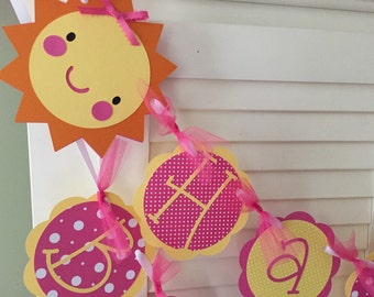 Sunshine Birthday Banner/ Pink/ Yellow/ Customized in any Color Combination/ Happy Birthday Banner/ Sunshine Party/ Name/ Age/ Party Package