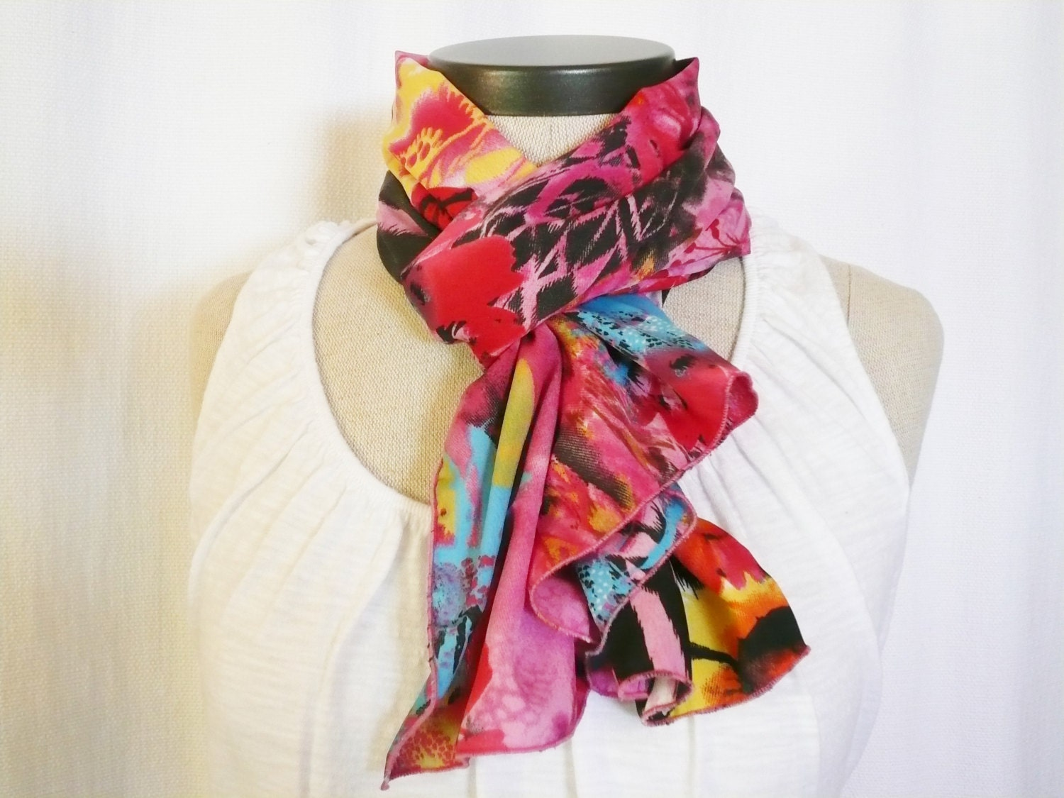 multi color scarf colorful pink black white yellow
