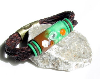 Leather bracelet unisex multiple wrap look copper green enameled bead artisan