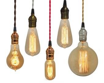 Custom Pendant Light -  Twisted Cloth Cord, Edison and Nostalgic Bulbs.  Design your own