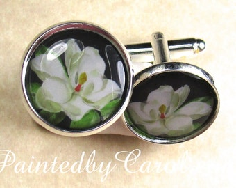 Magnolia Cufflinks - Southern, White Magnolia, Flower, Floral Cufflinks, Mens Gifts, Mens Accessories