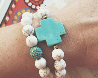 Turquoise Cross Bracelet // Neutral Tan or White // Picture Jasper or White Magnesite // Stretch Gemstone Bracelet // Cross