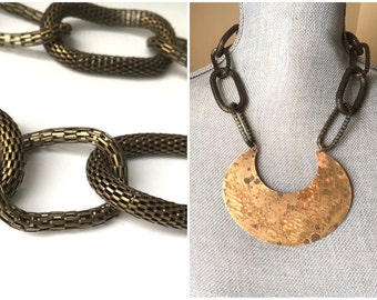Reversible & Adjustable Rustic Brass Crescent// byZULLIdesigns //ZULLI //Womens Necklace/Valentines Day Gifts/Gifts for Her/ Mesh Jewelry