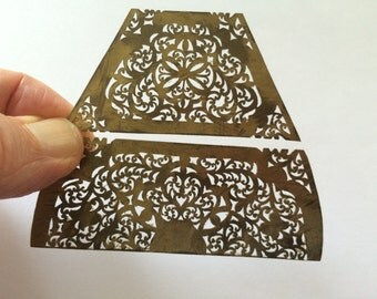 Antique and Unique Brass Filigree Stencils, Unique Patterns Handmade by a Jewish Jeweler in Morocco. Set of 2