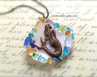 Mermaid Seashell Necklace. Brass Vintage Style Mermaid. Vintage Glass. Beach. Summer. Abalone. Shells. Under 30. Nautical Ocean. Gifts.