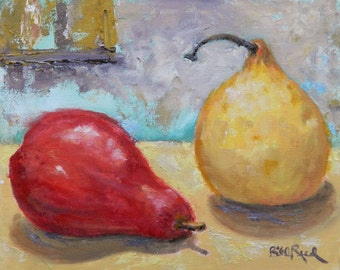 Red Pear and Asian Pear - original oil painting