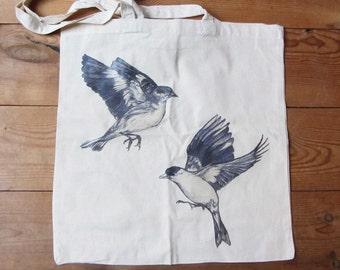 European & American Goldfinch Cotton Tote Bag - Illustrated Bird Tote