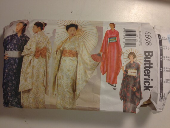 Butterick 6698 Sewing Pattern Adult Costume Geisha, Robe, Obi and Sash Size 32-48