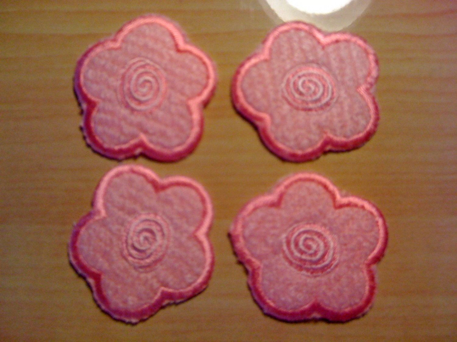 Four Pink Fuzzy Flower Iron On Appliques A30 From
