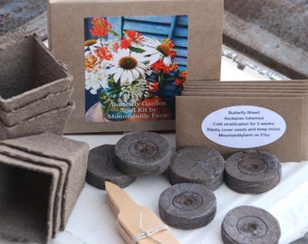 Butterfly Garden Seed Kit, Butterfly Plants, Heirloom Seed Kit, Pollinator Gardens, Milkweed Seeds, Zinnia Seeds, Great Gift for Mom