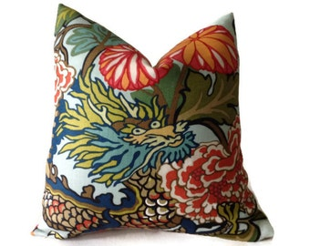 Schumacher  Decorative  Pillow, Chiang Mai Dragon Print Pillow Cover in Aquamarine, Toss Pillow, Accent Pillow