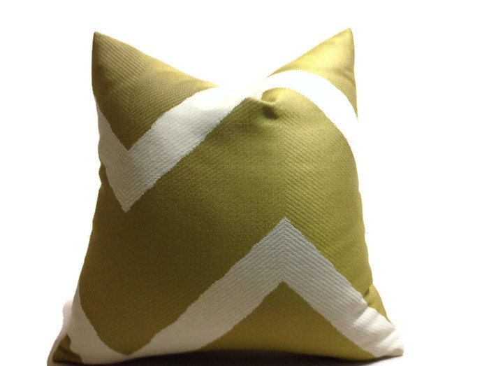 Ready Made Decorative Pillow Covers : Ready to Ship 19x19 Olive Green Chevron Pillow Cover Zig