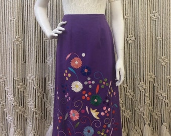 Amazing 1960's embroidered floral purple maxi skirt