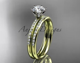 14kt yellow gold diamond unique engagement set, wedding ring ADER145S