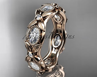 14kt  rose  gold diamond leaf and vine wedding ring, engagement ring ADLR152B nature inspired jewelry