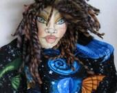 Space Fairy Wall Cloth Art Doll,  Angel Faery Hanging Doll,  Wall Decor Doll