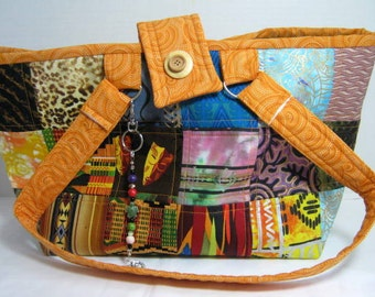 Ethnic Knitting Crochet Yarn Organizer Tote, Craft Project Library Book Bag