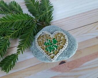 Petite Lucky Irish Shamrock Mosaic Rock Paperweight / Decorative Rock / Home Decor Gazing Garden Stone