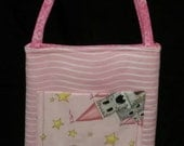 Pink Princess Activity Bag with a Ton of Activities Included.  Cotton with 2 Long Carry Straps, Large Pockets, Batting, Super Soft, FUN!!
