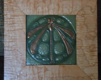 "Framed 5"" X 5"" Ephraim Pottery tile titled ""Sign of Peace"""