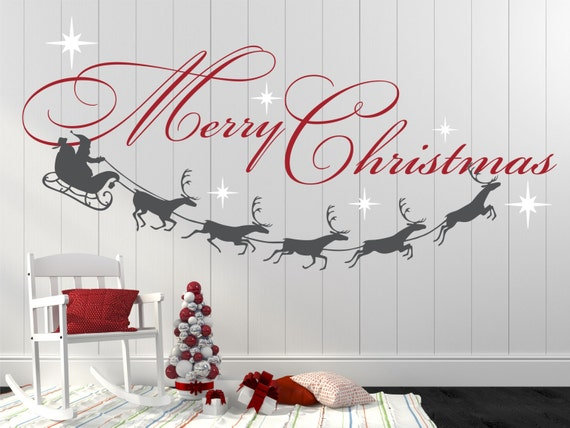 Merry Christmas Quote Wall Art Decal: Merry Christmas Decal Reindeer And Stars Christmas Decor
