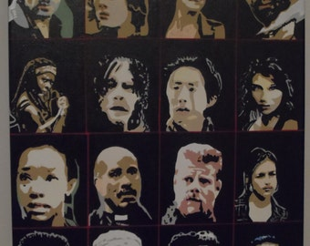 The Walking Dead 2- 16x20 Canvas Art Handpainted TV Series Pop Art Rendition