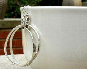 Hoop earrings,  Sterling Silver Hoop, Modern, Sterling Silver Earrings, 70's inspired earrings, sterling earrings, Hoops, Organic, Nature