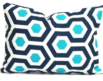 SALE BLUE OUTDOOR Pillows Sale, 12x18 inch or 12x16 inch Navy Blue Pillow Cover, Turquoise Decorative Pillow, Navy Pillow, Outdoor Pillow Co