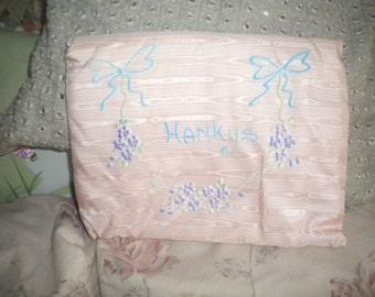 Vintage Pink Silk Hanky Holder, Shabby Chic, French Boudoir, Victorian